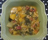 Acorn Squash Soup with Sausage and Kale Recipe