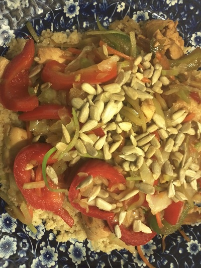 Chicken stir fry with whole wheat couscous