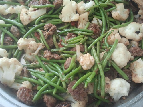 Sausage, Green Bean, cauliflower Stir Fry