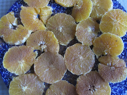 Sliced oranges with cinnamon/sugar