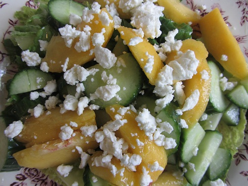 Real food peach feta salad