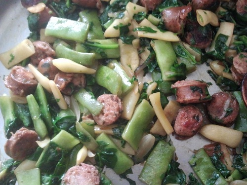Sausage, Kale and Romano Bean Stir Fry
