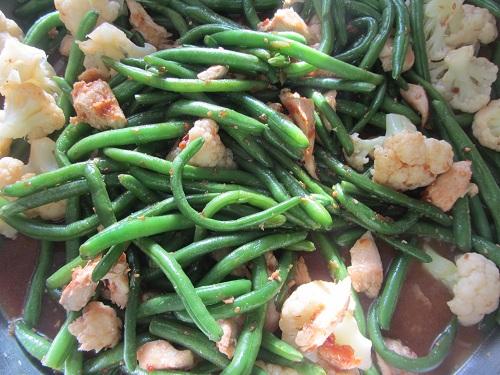 Chicken Green Bean Cauliflower stir fry