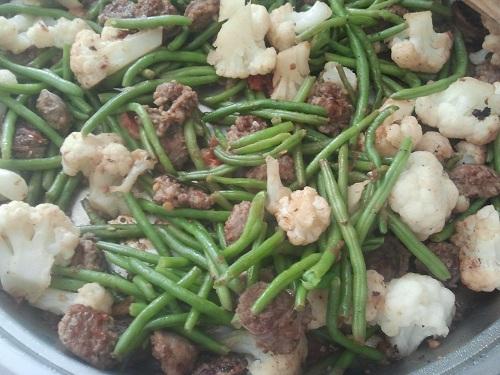 Sausage, Green Bean, cauliflower Stir Fry Recipe by Healthy Diet Habits