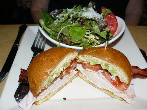 Sandwich and Salad from the Cheesecake Factory - Proper Portion Control would be to split the meal or take half home for a later meal!